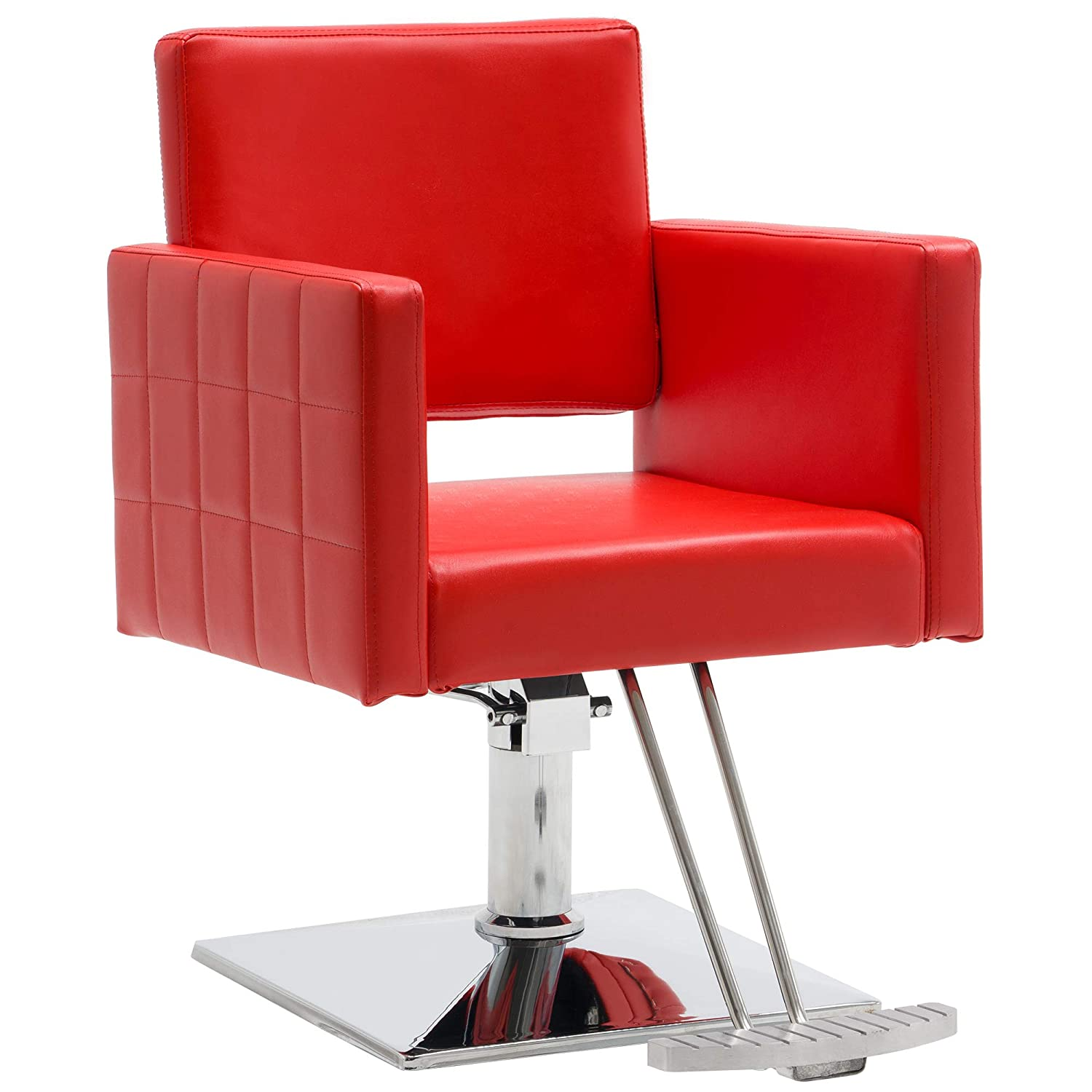BarberPub Classic Styling Salon Chair for Hair Stylist Hydraulic Barber Chair Beauty Spa Equipment 8821 Red