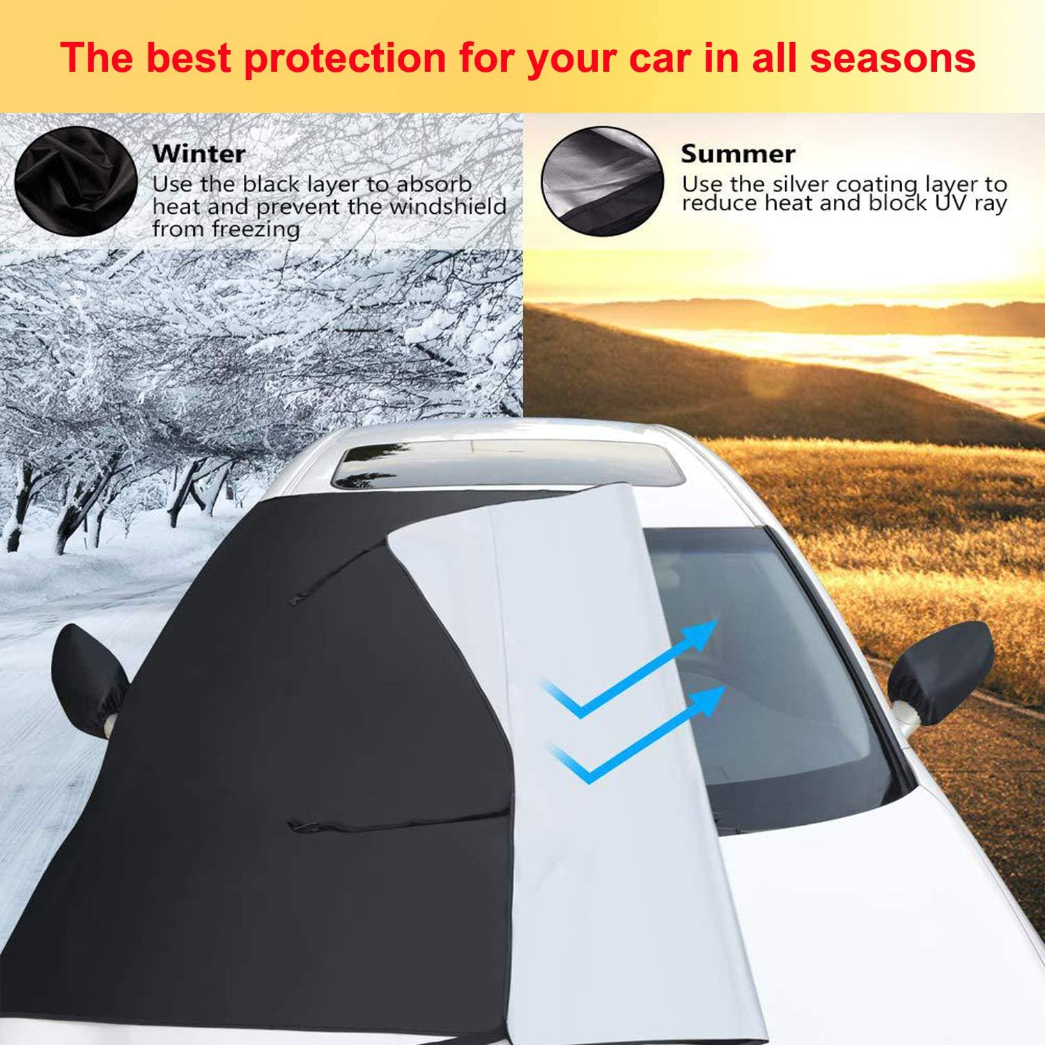 Larger Size Truck AUTENS Windshield Snow Cover 85x61 SUV Van or Automobile with Mirror Cover Rain Ice Magnet Car Windshield Cover for Snow Frost Suit for Most Car