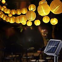 Geemoo Solar Lichtsnoer Buiten Lampions, 8M Lichtsnoeren op Zonne-Energie 30 LED Lantaarn, 2 modi, IP65 waterdicht…