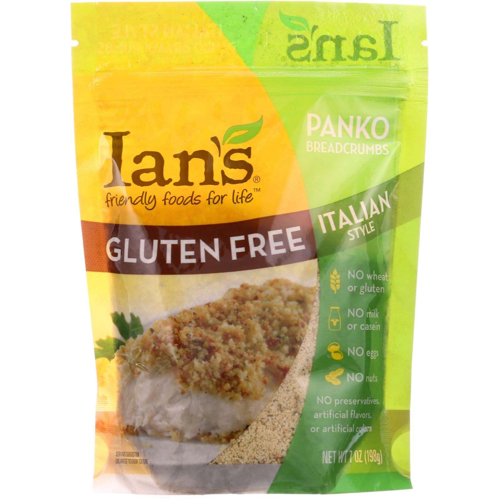 Ians Natural Foods Bread Crumbs - Panko - Italian Style - Gluten Free - 7 oz - case of 8 - Gluten Free - Dairy Free - Wheat Free by Ian's Natural Foods