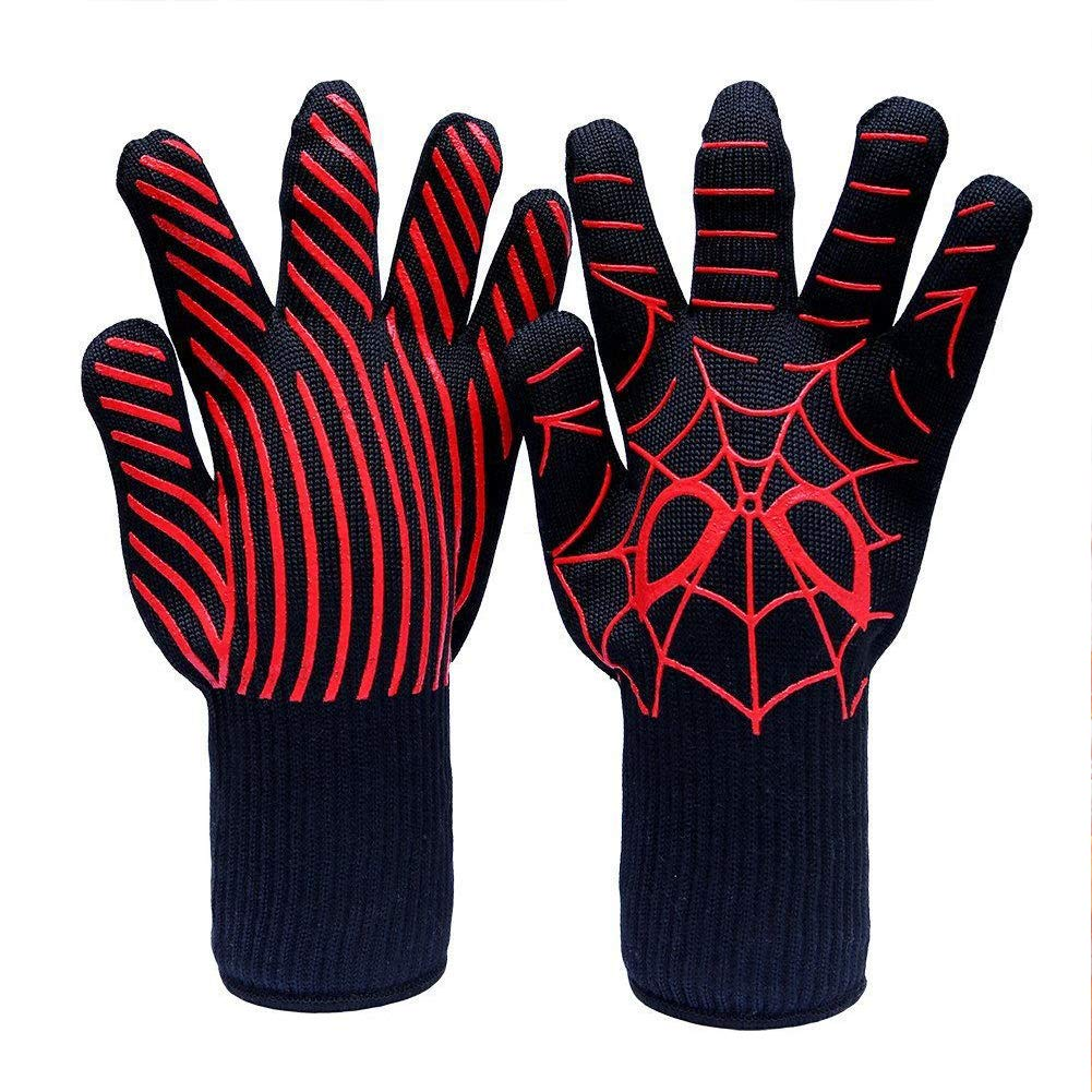 1 Pair BBQ Grill Gloves, Heat Resistant, Oven Silicone Glove Fireproof for Baking, High-temp Barbecue Grilling Potholders,Heat-insulated Cooking Mitt(#3)