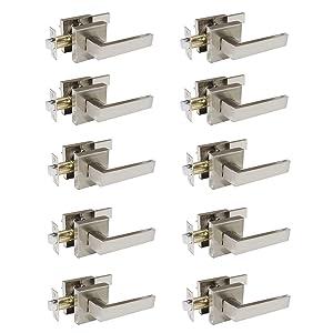 10 Pack Probrico Square Door Lever Door Lock Handle Lockset Keyless Doorknobs Passage Knobs Lockset Interior Hallway Passage Closet in Satin Nickel