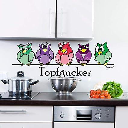 Sunnywall® Wandtattoo Wandaufkleber Topfgucker Eulen Vögel Kochen Küche  Deko Essen Wandsticker (60,00 cm x 22,00 cm (Gr1), bunt)