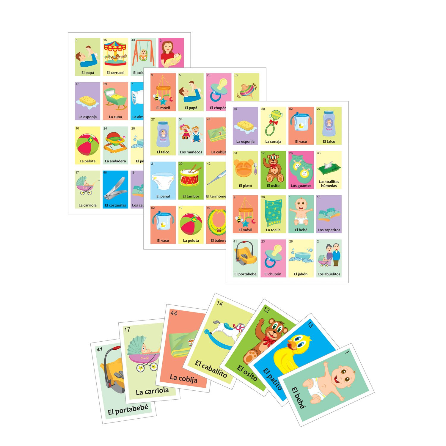Baby shower Game in Spanish, for 10 players and 54pc deck of cards, quality printing with glossy UV varnish, Practice and Learn Spanish Language. Have fun at Baby shower and sex reveal parties. by ARTE IMPERIAL