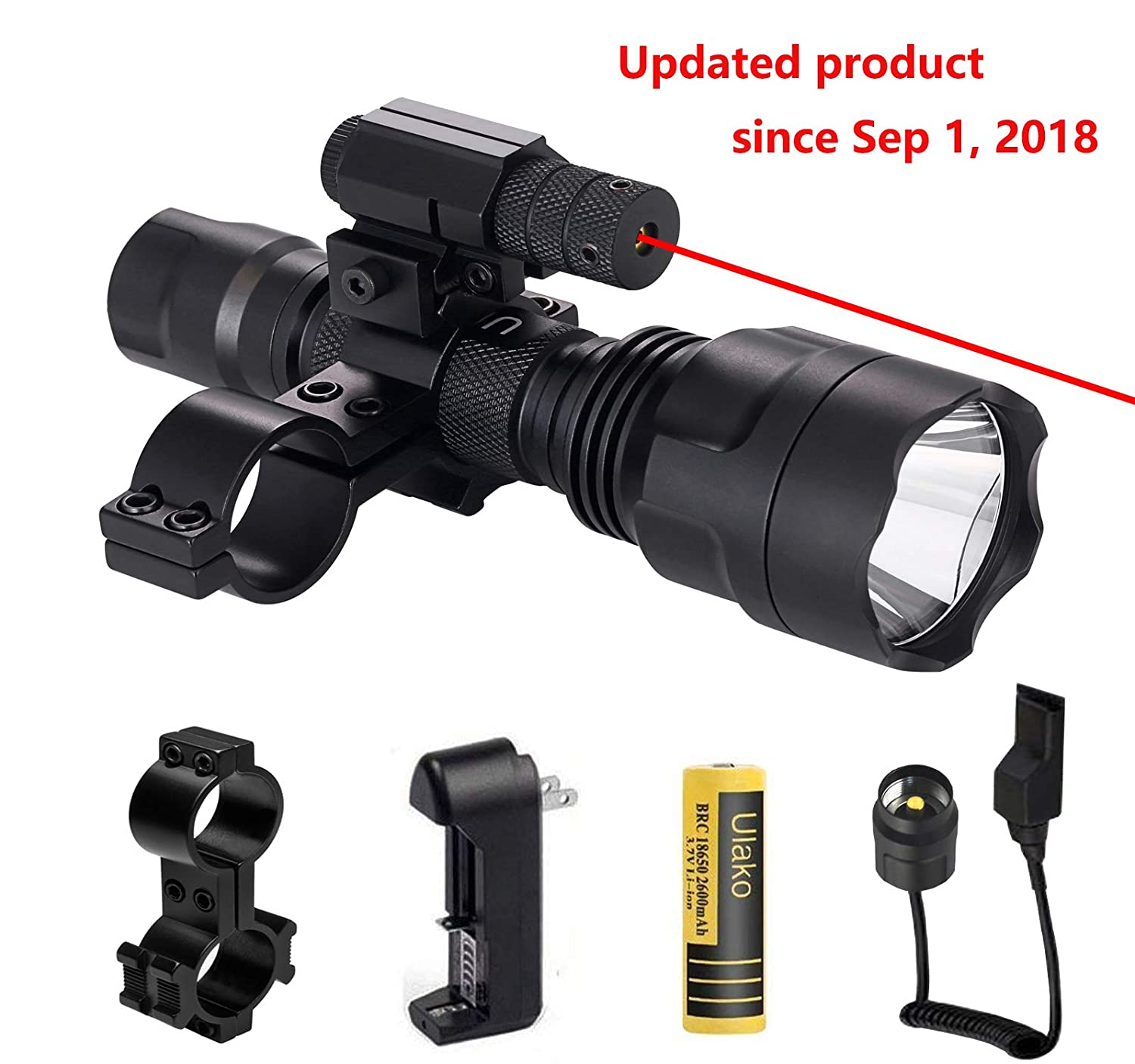 The Best Tactical Led Flashlight Set White Light Led Lamp Torch Zoomable Flashlight W/ 18650 Battery Charger Remote Control Tail Switch Portable Lighting