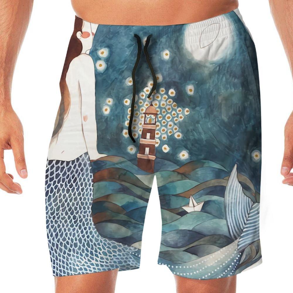 Mens Draw Mermaid Causal Beach Shorts with Elastic Waist Drawstring Lightweight Slim Fit Summer Short Pants with Pockets