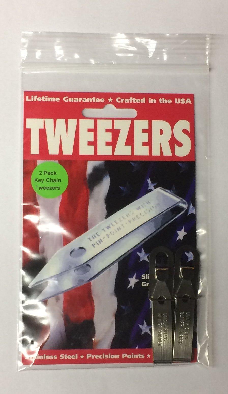2 Pack Uncle Bills Sliver Gripper Precision Key Chain Tweezers