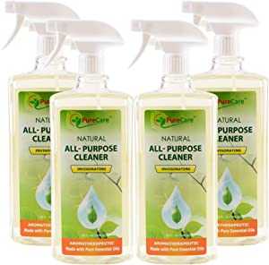 Pure Care Natural All Purpose Cleaner, Multi Surface Cleaning Spray, Safe Around Kids and Pets, Made with Pure Essential Oils (4 Pack x 32 oz)