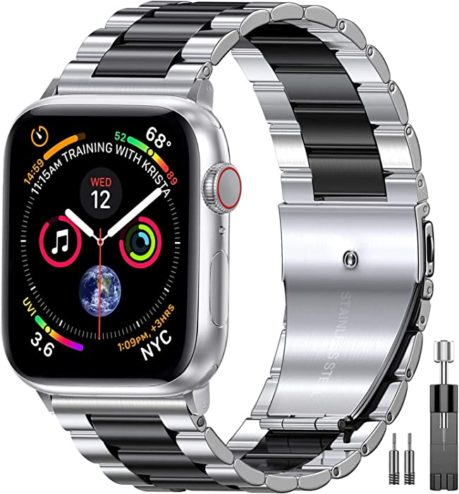 EPULY Compatible with Apple Watch Band 42mm 44mm 38mm 40mm ,Business Stainless Steel Metal Wristband for iWatch SE & Series 6/5/4/3/2/1