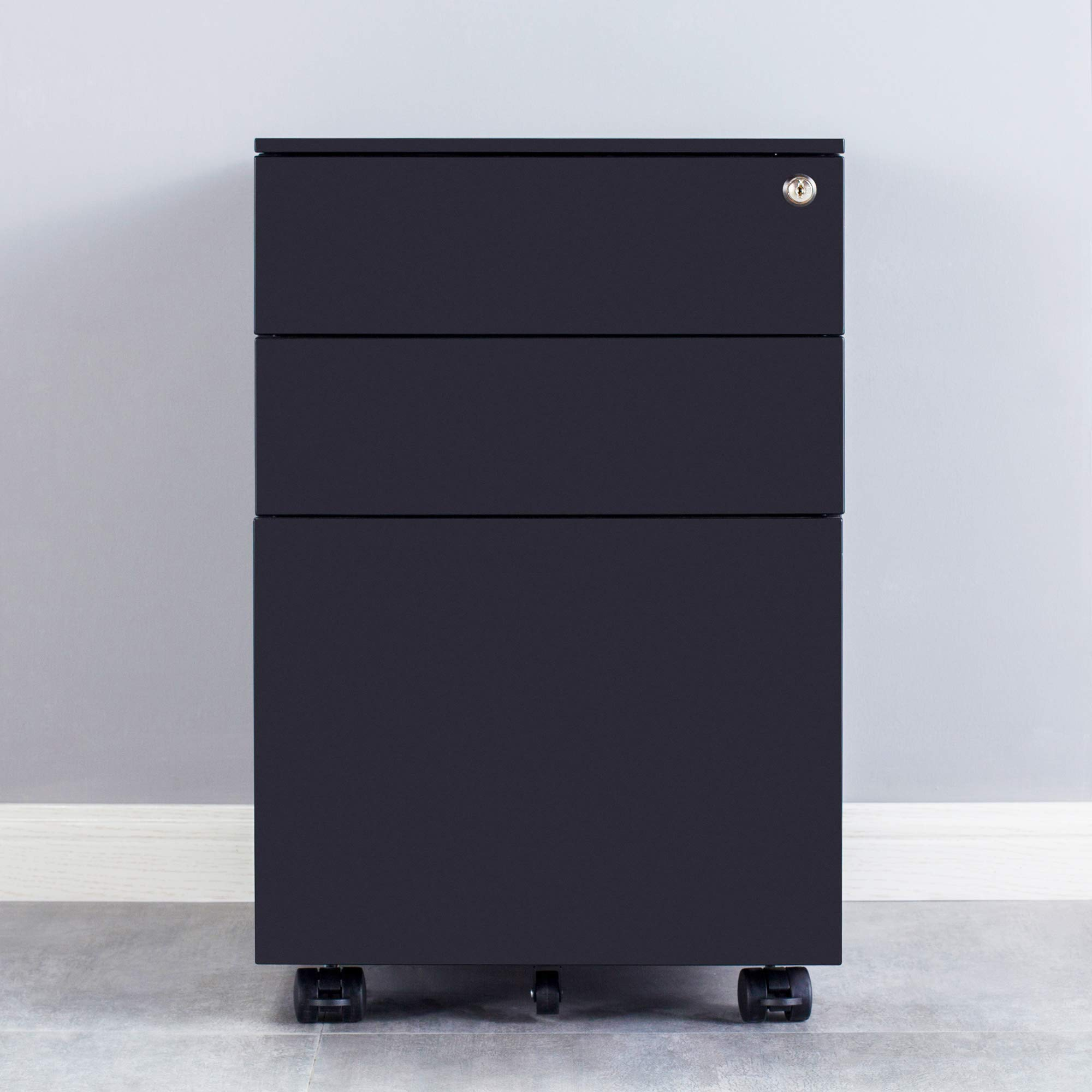 Ootori 3-Drawer Mobile Letter File Cabinet with Keys,Locking Filing Cabinet on Wheels, Black by OOTORI