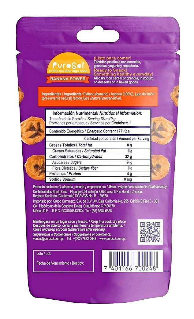 Amazon.com : PuroSol Sun Dried Healthy Fruit Snacks | 100% Natural, Unsweetened, No Sugar or Preservatives Added, Gluten Free, Vegan, Non-GMO (Banana - 10 ...