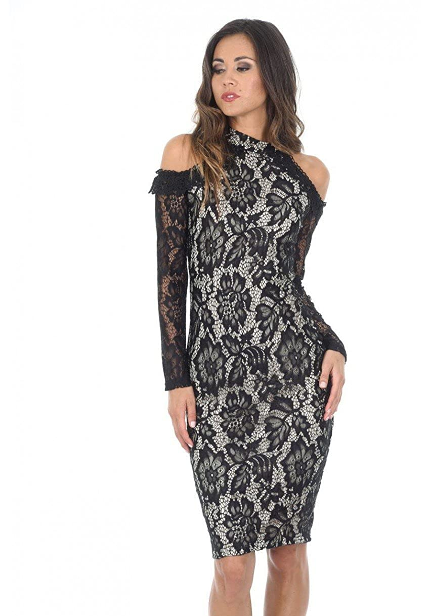 68eed731081028 100% Polyester Imported Black and nude midi high neck lace dress is a  modern romance all time classic. The black and nude contrast really sets  this dress ...