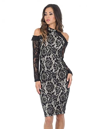 5b45cb6e801be AX Paris Women's Black and Nude Midi High Neck Lace Dress(Black Nude,  Size:6) at Amazon Women's Clothing store: