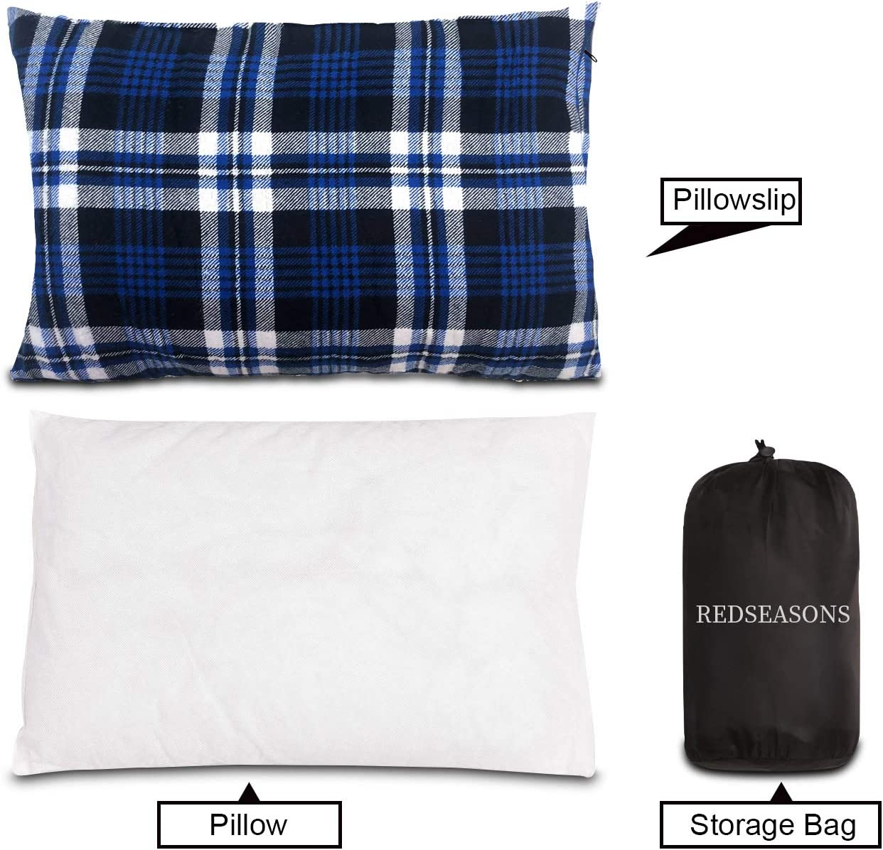 Flannel Travel Pillow,Removable Cover with Storage Bag REDSEASONS Small Camping Pillow Lightweight and Compressible