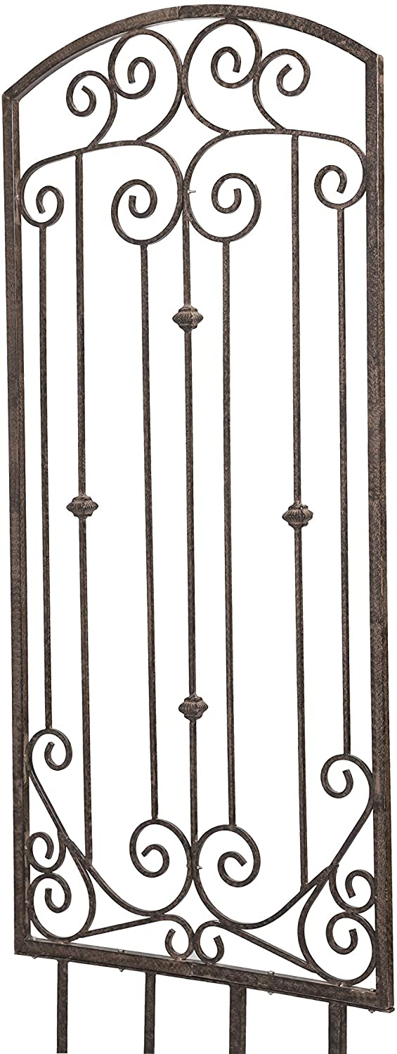 H Potter Trellis Garden Large Wrought Iron Heavy Scroll Metal Decoration Weather Resistant Lawn Patio Screen