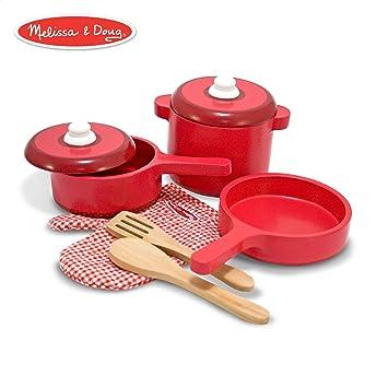 Excellent Melissa Doug Deluxe Wooden Kitchen Accessory Set Pots Pans 8 Pieces Home Remodeling Inspirations Propsscottssportslandcom