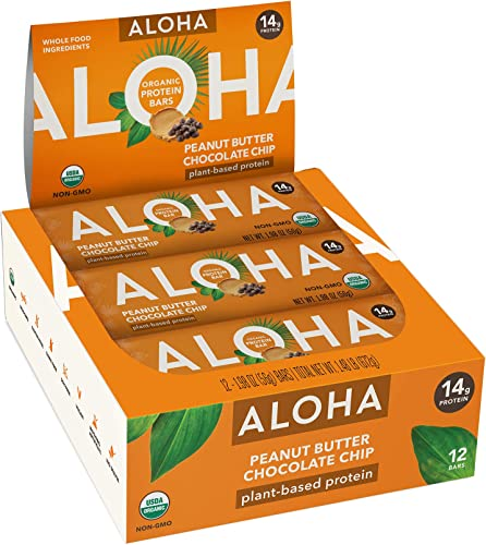 ALOHA Organic Plant Based Protein Bars Peanut Butter Chocolate Chip 12 Count, 1.9oz Bars Vegan, Low Sugar, Gluten Free, Paleo, Low Carb, Non-GMO, Stevia Free, Soy Free, No Sugar Alcohols