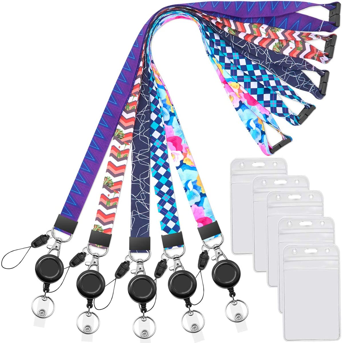Breakaway lanyard necklace with ID badge reel 30 to 42 clasp and length select retractable badge holder