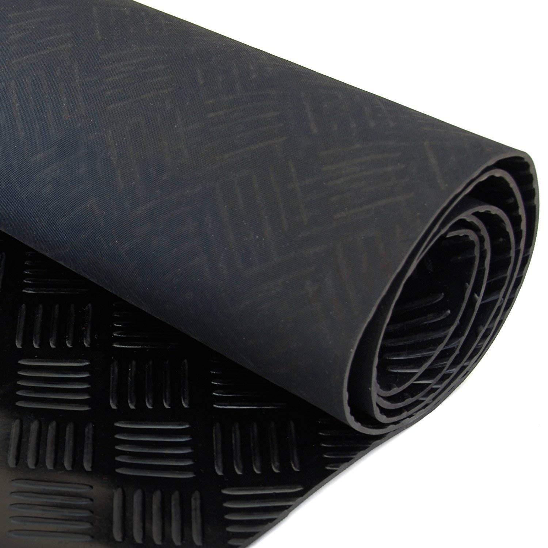 3mm Thick Garage Rubber Flooring 5 Bar Checker Floor 10m x 1.2m Van Mat Roll