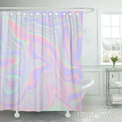 Amazon TOMPOP Shower Curtain Holographic Abstract In Pastel