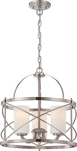 Nuvo Lighting Three Light Pendant, 16 W x 17 H, Pwt, Nckl, B S, Slvr