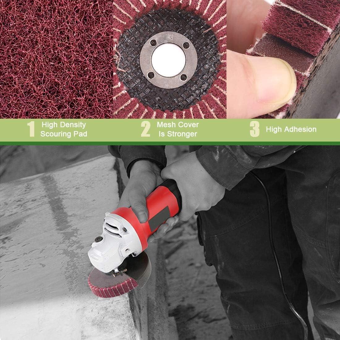 SNOWINSPRING 6 Pezzi 4 Pollici 240 Dischi Lamellari nel Fibra di Nylon Rosso con Carta Vetrata Perfetti per Rimuovere la Vernice e Lucidare I Tubi nel Acciaio Inossidabile