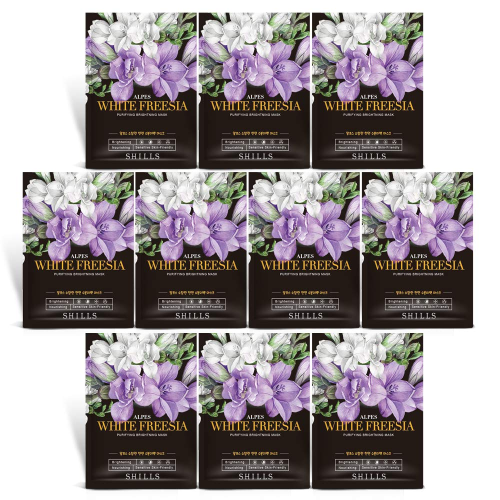SHILLS Freesia Purifying Mask, Instant Brightening and Hydrating, Deep Moisturizing Care, Anti-Aging Anti-Wrinkle, 8 Pack