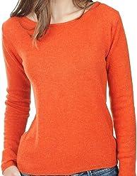 2804a1208ffe1c Balldiri 100% Cashmere Kaschmir Damen Pullover Rundhals 2-fädig orange