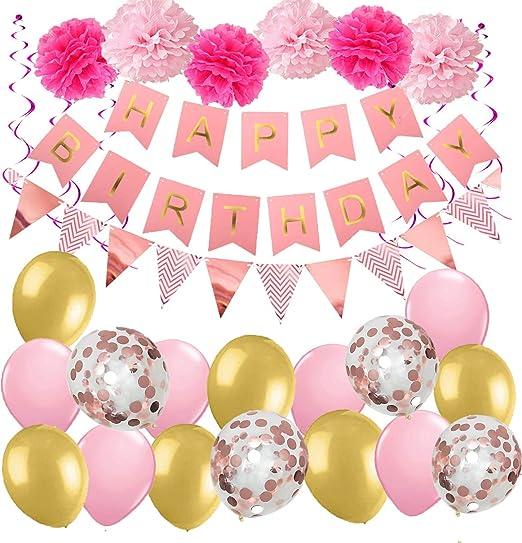 MAKFORT - Decoración de cumpleaños para niña, con espirales ...