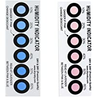 Dry & Dry Premium Humidity Indicator Cards (12 Cards) - 10-60% 6 Spot(Reusable)
