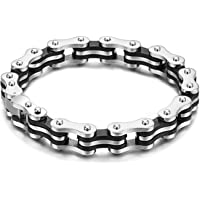 Bicycle Chain Style Mark Highly Durable Silver-Black Bracelet for Men and Boys by YELLOW CHIMES …
