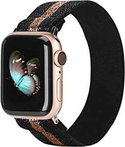 TOYOUTHS Elastic Band Compatible with Apple Watch Band Scrunchies Stretchy Solo Loop 38/40mm Leopard Pattern Soft Nylon Strap Women Replacement Wristband for iWatch Series SE/6/5/4/3/2/1