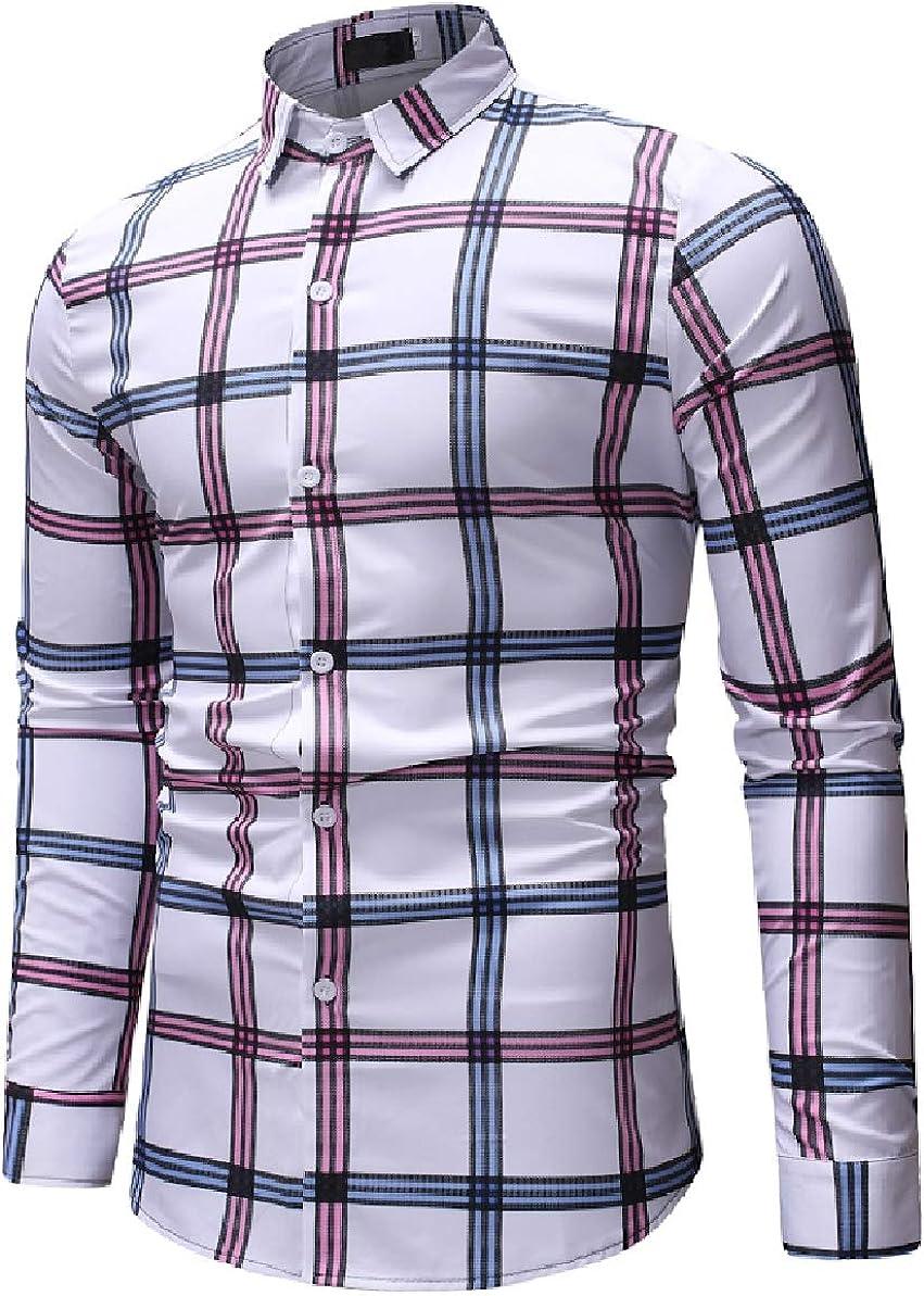 Zimaes-Men Plus-Size Plaid Pattern Standard-fit Long-Sleeve Turn Down Collar Dress Shirts