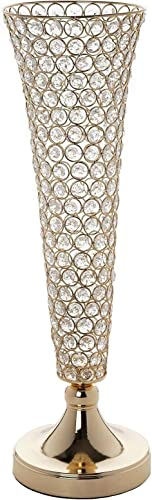 Efavormart Set of 2 Tall Gold Beaded Crystals Trumpet Floral Vase Wedding Centerpiece 23 Tall