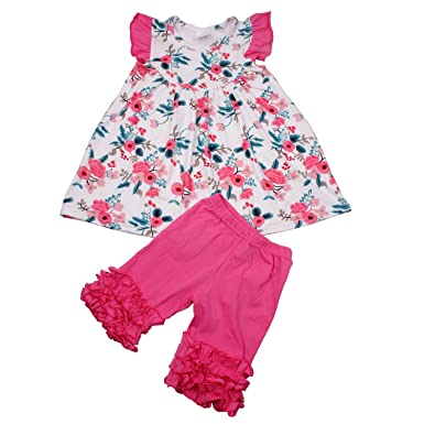 57a2416c9117 Toddler Kids Summer Pants Set Floral Dress Ruffle Pants Outfit Boutique  Clothing for Baby Girls 2T