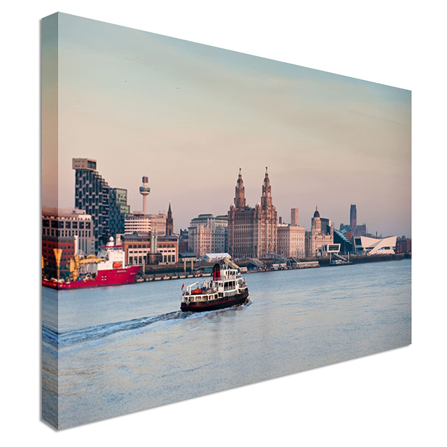 Liverpool Skyline Night Mersey River 40x20 Wall Picture Canvas Art Print bnw
