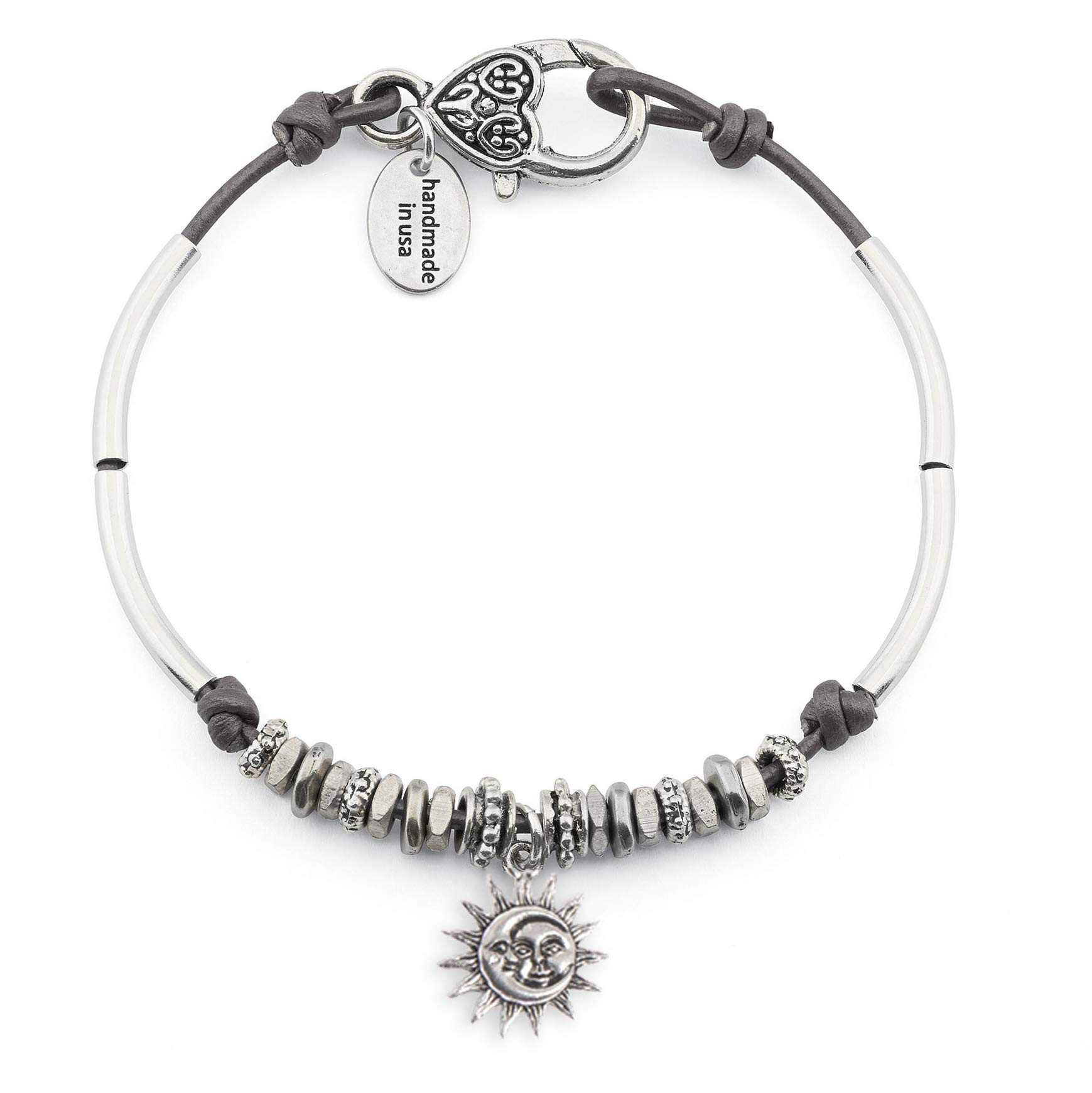 Lizzy James Lola Anklet w Moon Sun Charm in Metallic Gunmetal Leather Silver Plate Crescents (9 INCH)