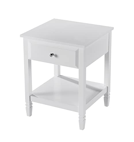 White Finish Contemporary Nightstand Side End Table with Drawer 24