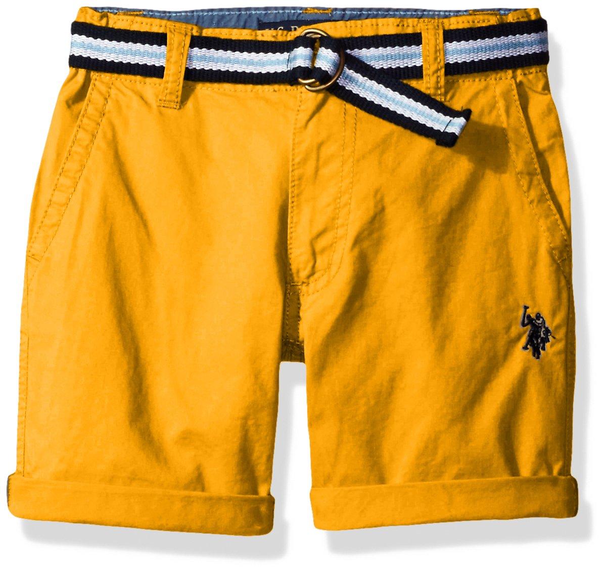 U.S. Polo Assn.. Boys' Fine Line Twill Short with Belt, Warhol Orange, 4