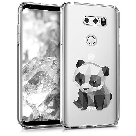 kwmobile Funda para LG V30 / V30S / V30+ / V30S+ - Carcasa de [TPU] para móvil y diseño de Panda geométrico en [Negro/Blanco/Transparente]