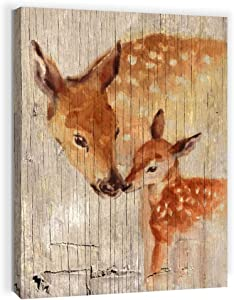 Rustic Home Decor Bathroom Wall Art Farmhouse Decor for Bedroom Modern Home Country Elk Pictures Kitchen Wall Decor Canvas Framed Artwork for Walls Prints Wood Grain Animal Wall Decoration Size 12x16