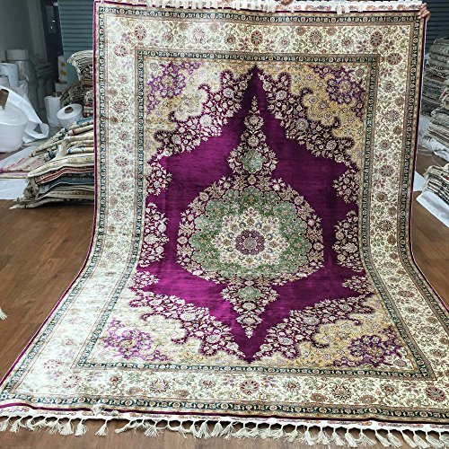 Yuchen 6.56'x9.84′ Floral Hand Knotted Pure Silk Carpet Purple Handmade Turkish Rug for Living Room