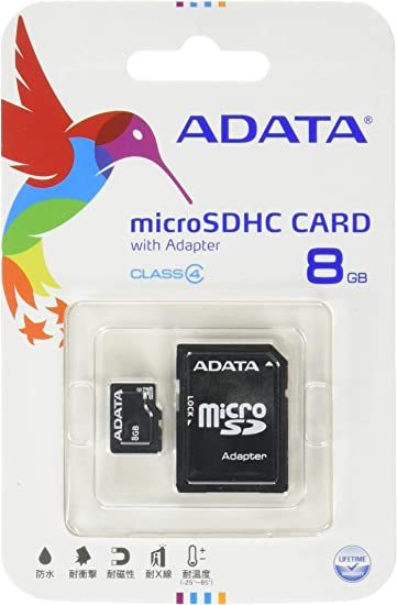 ADATA 8GB microSDHC Class 4 Memory Card with Adapter (AUSDH8GCL4-RA1)