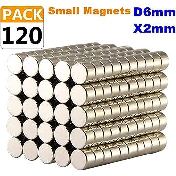 Magnets D6mmX 2mm 120PACK,Round Refrigerator Magnets,Fridge Magnet Disc for Crafts Fridge Crafts