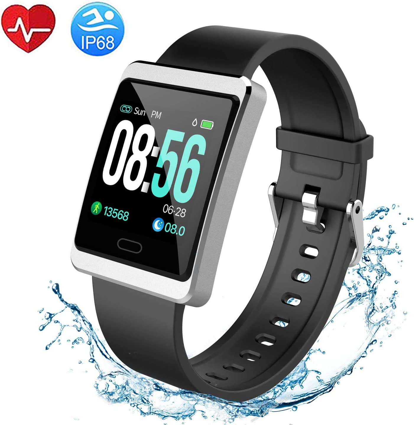 VANKANY Fitness Tracker HR, Waterproof Activity Tracker Watch with Heart Rate Monitor, Step Counter, Calorie Counter, Pedometer Watch for Kids Women and Men Compatible with Samsung Apple iPhone