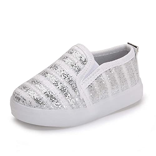 Desirca Kids Glowing Shoes For Girls Boys Luminous Sneakers Children S  Casual Flats Glitter Stripe Led Lighted Shoes Loafers Silver 8.5   Amazon.ca  Shoes   ... c81172ff28f0