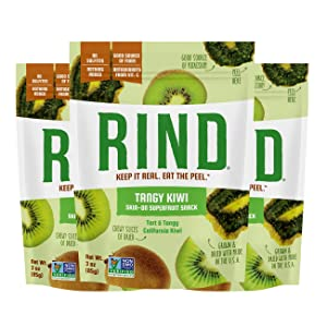 RIND Snacks Tangy Kiwi Dried Fruit Superfood, High Fiber, Vegan, Paleo, Whole 30, Non-GMO, 3oz, 3 Pack