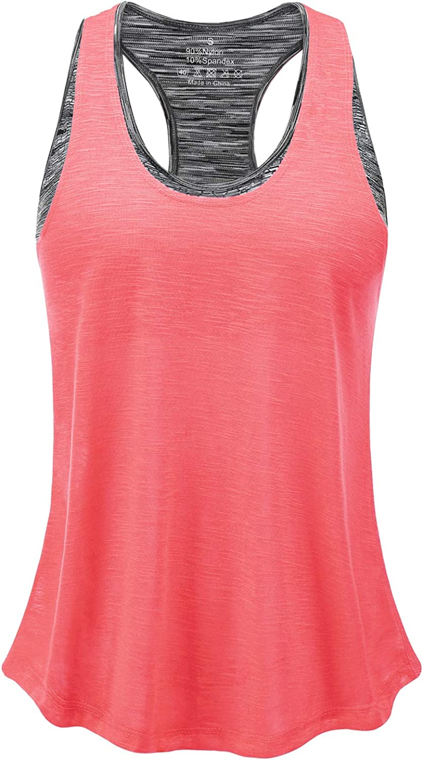 FAFAIR Workout Tank Tops for Women with Built in Bra Sports Gym Shirts Yoga Tops