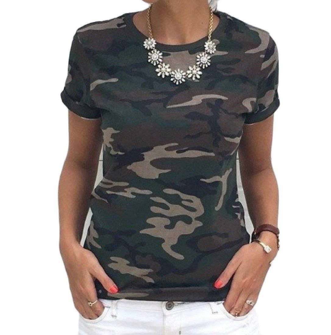 Comfy Women Plus Size Camouflage Strap Classic T Shirt Vest Pullover Army Green XL