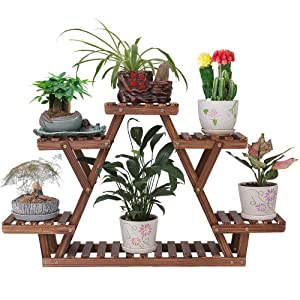 Ufine Wood Plant Stand Triangular Plant Shelf Multi Tier Flower Display Holder Storage Rack 6 Pots for Indoor Outdoor Living Room Balcony Patio